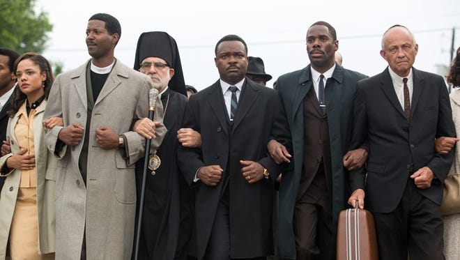 "David Oyelowo, center, as Dr. Martin Luther King, Jr. in ""Selma."""