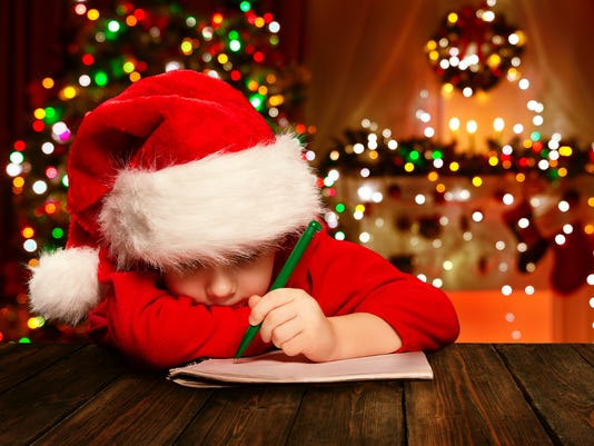 Christmas Child Write Letter Santa Claus, Kid Santa Hat Writing