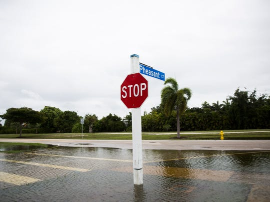 Floodwaters surround a stop sign on Tuesday, June 6, 2017 along Winterberry Drive on Marco Island. The heavy rain left patches of standing water along the streets on the island.
