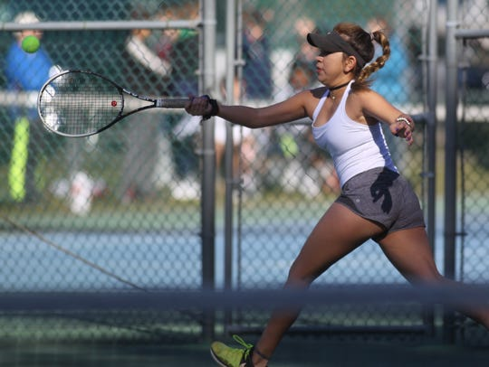 Chiles' Sofia Guerrero plays at the 2018 tennis city