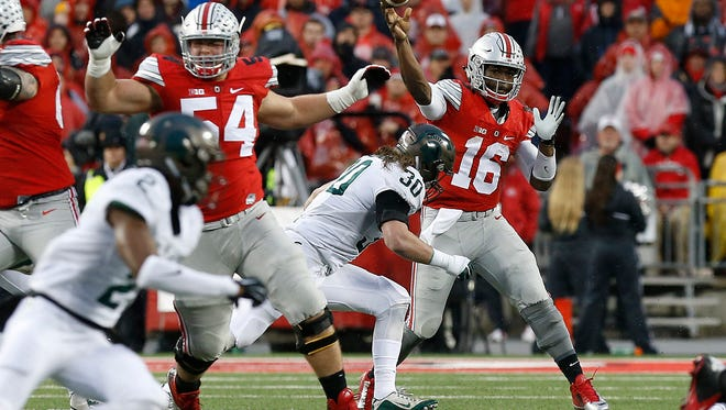Michigan State harrassed Ohio State quarterback J.T. Barrett constantly in last season's 17-14 MSU win in Columbus. The Buckeyes and Barrett likely remember it well, and MSU has nowhere near the pass rush.