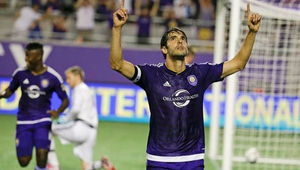 Orlando City's Kaka, front, celebrates his goal against the Colorado Rapids during the second half of an MLS soccer game, Wednesday, June 24, 2015, in Orlando, Fla. Orlando won 2-0. (AP Photo/John Raoux)