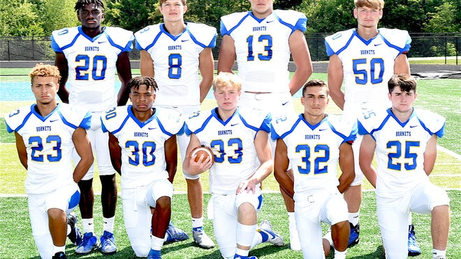 Returning lettermen for the 2020 East Canton football team are (left to right) Jordan Bolds, Mario Snellenberger, Jake McCullough, Nathan Cilona and Jeremiah Kandel; and (back row) Austin Jones, Chase Vacco, Tyler Hoover and Grayden Clark.