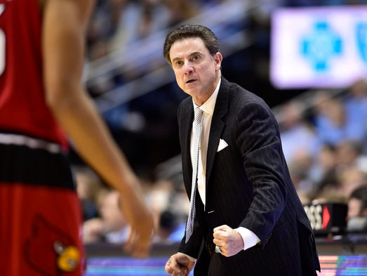 Louisville head coach Rick Pitino reacts during the