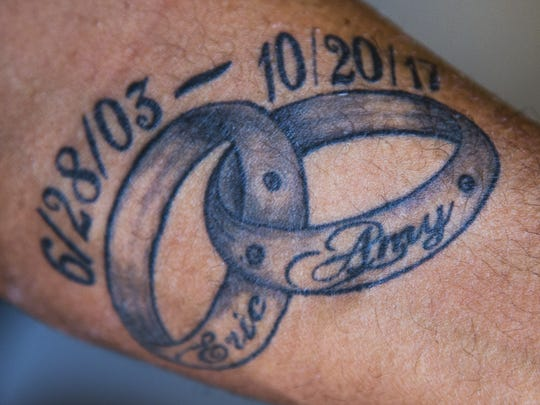 Eric Porter, Mesa, has a tattoo on his arm honoring his wife, Amy, who died on October 20, 2017. Porter had to fight to receive his wife's life insurance benefits after her death.