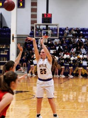 Wylie's Lauren Fulenwider takes a 3-point shot during