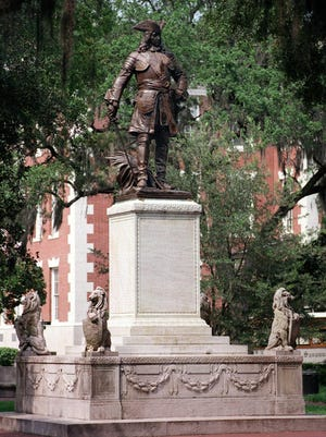 The bronze sculpture of Georgia's founder, General James Oglethorpe, was created by artist Daniel Chester French in 1910. It is said that Oglethorpe faces South in Chippewa Square to guard against the Spanish. General Oglethorpe statue in Chippewa Square.