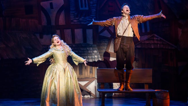 "Autumn Hurlbert and Josh Grisetti in the national tour of ""Something Rotten!"""