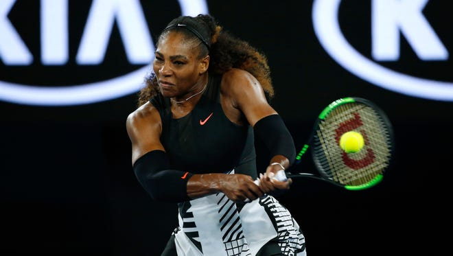 Serena Williams plays a forehand in her second round match against Lucie Safarova during the 2017 Australian Open at Melbourne Park on Jan. 19.