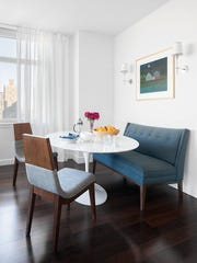 Decor Aid cofounder and designer Sean Juneja used home design blogs and other online resources to help design a light and airy breakfast nook in an apartment on New York's Upper East Side.
