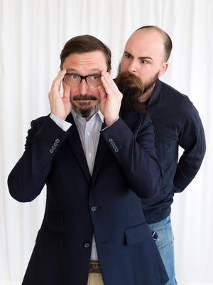 "John Hodgman (left) and Jesse Thorn of the ""Judge John Hodgman"" podcast."