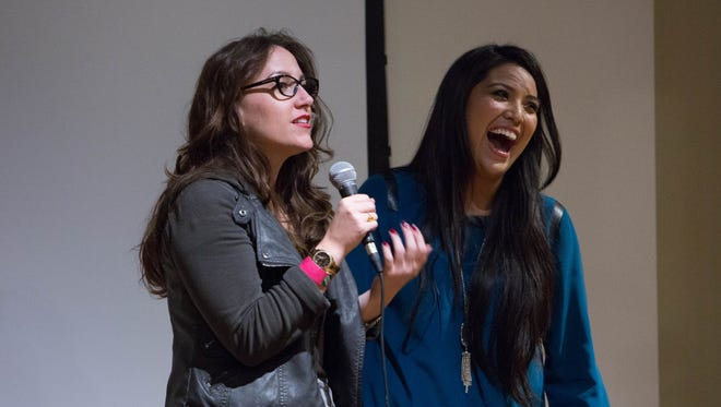 """""""Republic"""" reporter Megan Finnerty (left, with Chary  Edsitty of Channel 12 in November 2014) is the host of Arizona Storytellers Project."""
