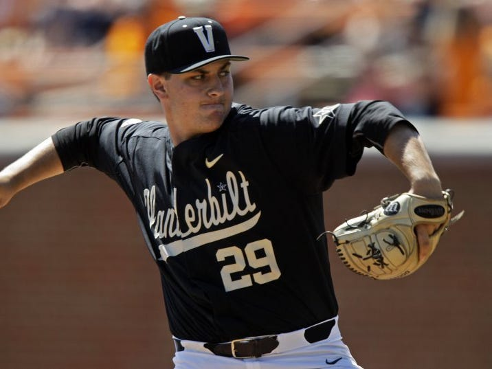 Vanderbilt pitcher Patrick Raby (29) throws to a Tennessee batter during their game Sunday, April 24, 2016.