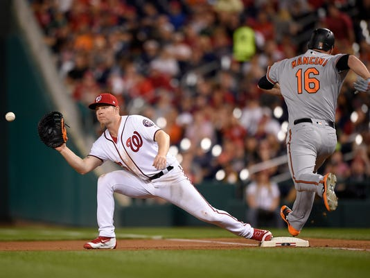 FILE - In this June 8, 2017, file photo, Washington Nationals first baseman Adam Lind, left, leans for the ball as Baltimore Orioles' Trey Mancini (16) is out at first during the seventh inning of a baseball game in Washington. Lind has agreed to a minor league contract with the Yankees on Friday, March 2, 2018, giving New York another backup option to Greg Bird at first base. (AP Photo/Nick Wass, File)