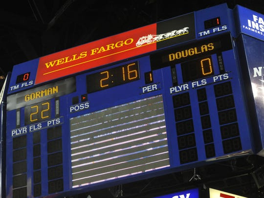 The scoreboard at Lawlor Events Center shows a big early lead for Bishop Gorman against Douglas in a 2012 boys basketball state tournament game.