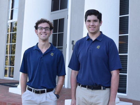 Saint James School seniors Declan Fitzpatrick, left,