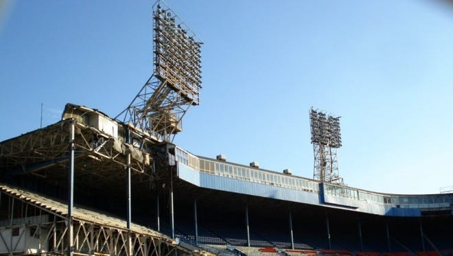 Tiger Stadium in Detroit falls to the wrecking ball in 2008.