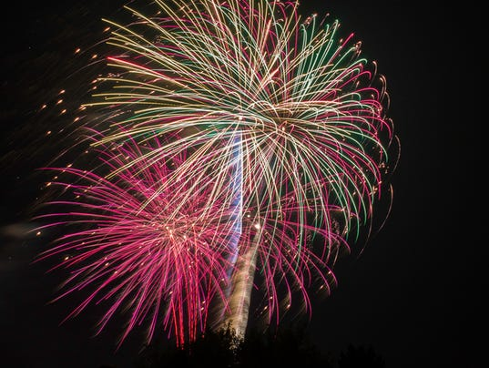 colorful 4th of July fireworks display on dark sky background