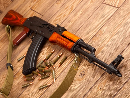 #stockphoto Kalashnikov assault rifles with ammunition ak-47