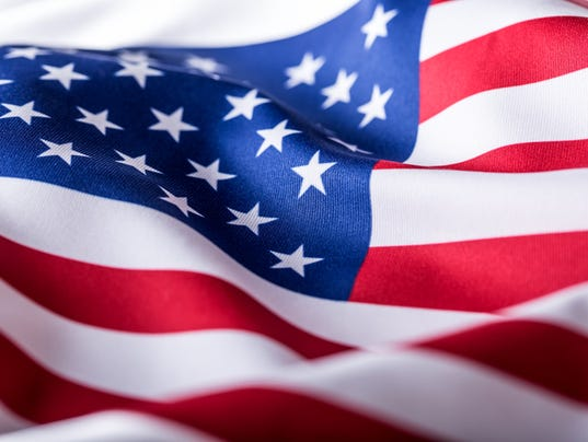 USA flag. American flag. American flag blowing wind. Close-up.