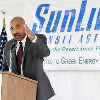 Mikel Oglesby, seen in a file photo speaking at a SunLine Transit Agency event, has been hired by a Florida transit agency.