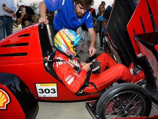Formula One star Fernando Alonso takes the wheel of Louisiana Tech's 'Diesel.jpg