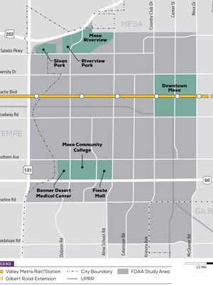 Valley Metro is studying the area shaded in dark gray for high-capacity transit options, which include light rail.