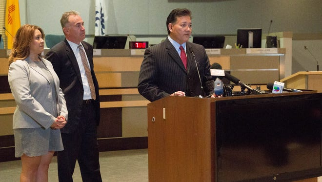 Las Cruces Mayor Ken Miyagishima, talking about the new programs and next steps in fighting the opioid crisis during a press conference with Deputy Attorney General Tania Maestas and District Attorney Mark D'Antonio, Monday September 11, 2017 at City Hall.