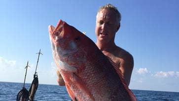 Local diver Finis Calvert with a nice red snapper he shot during last years Florida state waters red snapper season.