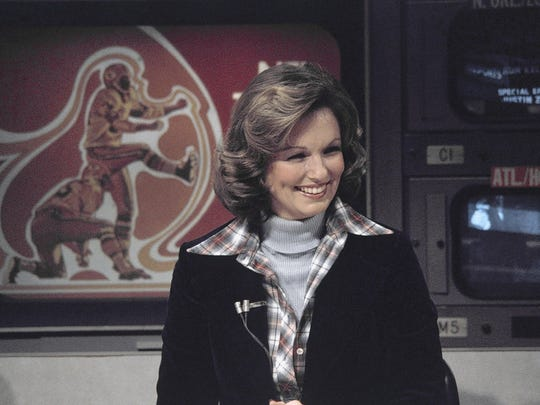 "Phyllis George, here in November 1976, was pioneer on CBS' ""NFL Today."" She died Thursday at a Lexington, Kentucky hospital after a long fight with a blood disorder, a family spokeswoman said."