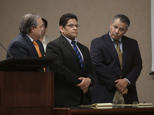 Former sheriff's Deputy Raymundo Carranza, right, was found guilty of intoxicated manslaughter in the 409th District Court in connection with the fatal 2012 hit-and-run of Richard Lopez on Spur 601.