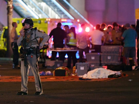 A Las Vegas Metropolitan Police officer stands in the