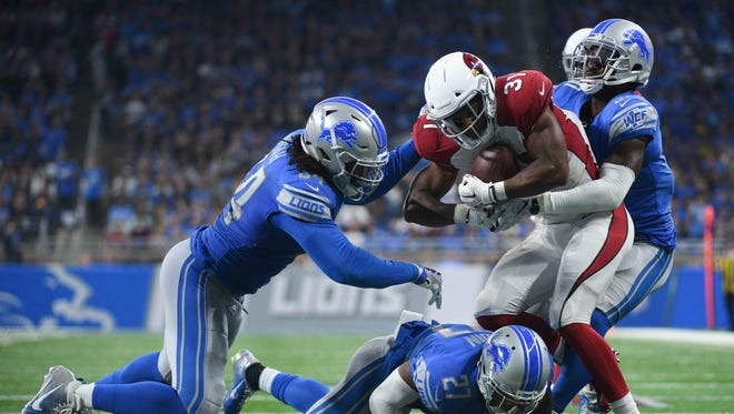 Cardinals running back David Johnson had just 23 yards on 11 carries before leaving Sunday's game with a wrist injury.