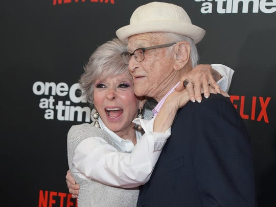 "Show biz legends Rita Moreno and Norman Lear attend the premiere of Netflix's ""One Day At A Time"" Season 3. (Photo: Rachel Luna/Getty Images)"
