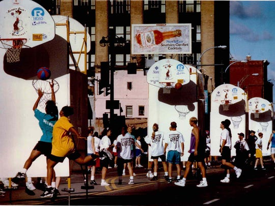 Sixty-one portable baskets, more than 3,000 players and thousands of spectators turned Main Street into a giant gymnasium for the Main Event/ Jumpin' Jack on July 18, 1993.