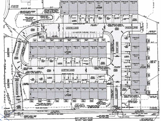 Overhead view drawing of the layout of Belmont Estates townhomes. The units closest to Belmont Avenue are the largest and will be available for rent in fall 2017.