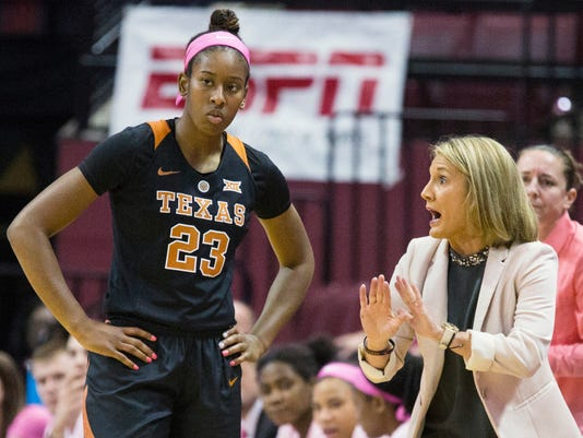 FILE - In this Feb. 13, 2017, file photo, Texas coach Karen Aston coaches Ariel Atkins in the first half of an NCAA college basketball game against Florida State in Tallahassee, Fla. UConn is No. 1 in The Associated Press women's basketball preseason poll for the 12th time in the school's history. Texas is second - the Longhorns' best ranking since the second poll of the 2004 season. (AP Photo/Mark Wallheiser, File)