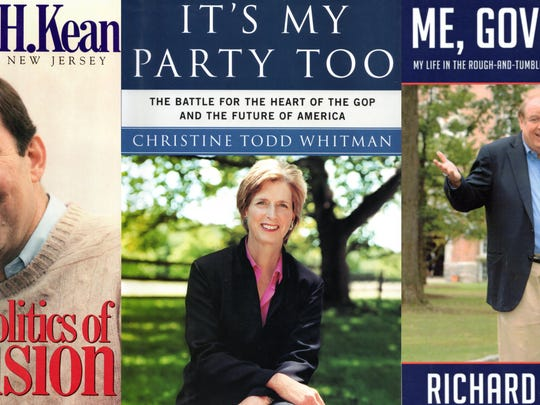 Book covers of former New Jersey governors Thomas Kean, Christine Todd Whitman and Richard Codey. Whitman and Codey penned the books after they left office. Kean wrote in office, but donated the proceeds to charity.