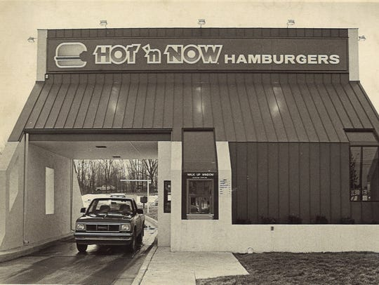 This is a 1986 photo of a Hot 'n Now restaurant location in the Lansing area.