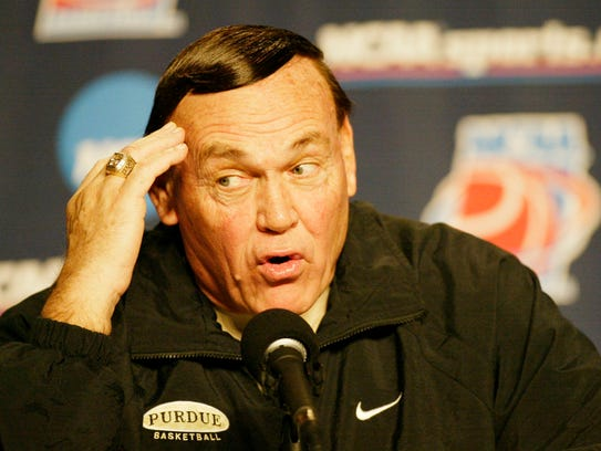 Purdue head coach Gene Keady reacts to a reporter's