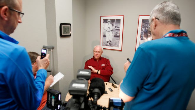 Reds general manager Walt Jocketty addresses the media Monday in Goodyear concerning former pitcher's Mat Latos' claims that the Reds' medical staff rushed him back from injury.