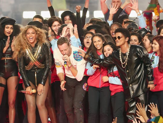 Beyonce, Chris Martin of Coldplay and Bruno Mars perform