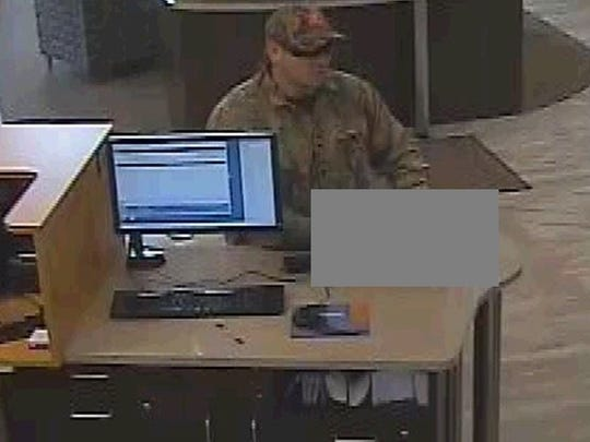 The suspect in the robbery of the Unison Credit Union in De Pere on Tuesday.