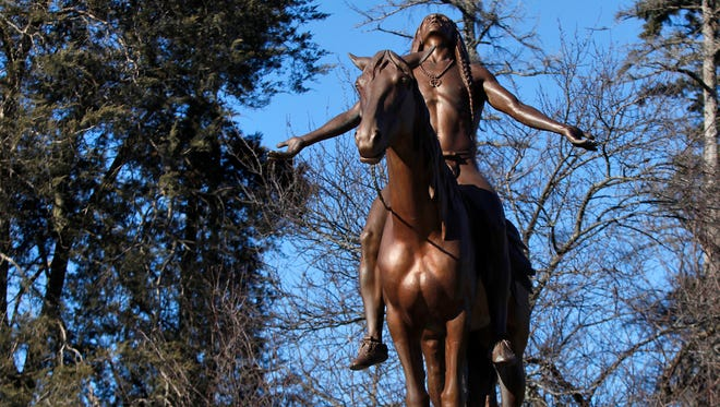 """This familiar statue in Muncie is """"Appeal to the Great Spirit"""" - NOT the supposed Chief Munsee, who did not actually exist."""