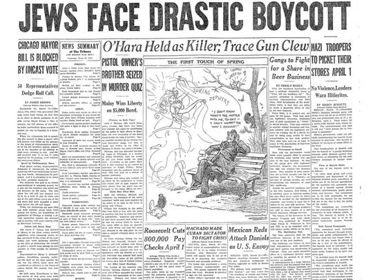 The March 29, 1933, front page of Chicago Daily Tribune,
