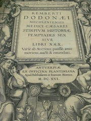 """In this 2014 photo provided by Homeland Security Investigations, a page from """"Stirpium Historiae,"""" one of two books that federal officials say are stolen Italian books from the 17th century, is shown in San Francisco."""