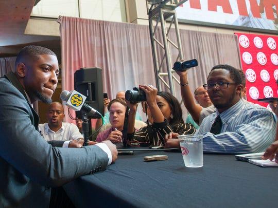 Alabama linebacker Anfernee Jennings talks to the press during SEC Football Media Days Wednesday, July 18, 2018, in Atlanta, Ga.