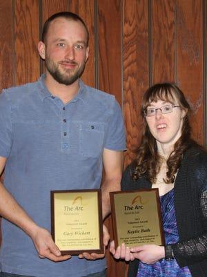 The Arc Fond du Lac's Volunteer Award recipients: Gary Wickert, left, and Kaytie Bath.