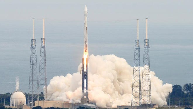 A United Launch Alliance Atlas V rocket lifts off from Complex 41 at Cape Canaveral Air Force Station, Fla., on Monday, Nov. 18, 2013. The rocket is carrying the Mars Atmospheric and Volatile EvolutioN (Maven) satellite for NASA.