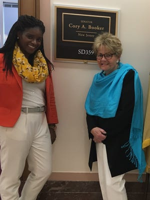 Bound Brook resident and lung cancer survivor Rae Siebel, along with Tesheya Wilson (left), legislative fellow for Sen. Cory Booker and others, traveled to Washington, D.C., last week to meet with members of the U.S. Congress on Advocacy Day to demand action.